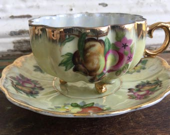 Vintage Footed Teacup Tea Cup and Saucer Pedestal Lusterware Fruit