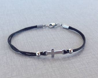Cross bracelet  -  - Stainless steel - Handmade jewelry - Greek jewelry - gift for him or for her