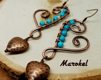 Hammered Copper Heart Earrings Dangle Wire Wrapped Textured Copper Turquoise
