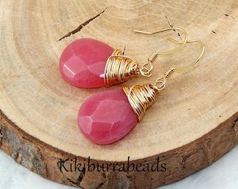 Quartz Earrings,Pink Quartz Earrings,Wire Wrapped Gold Earrings,Gemstone Earrings,Pink Earrings