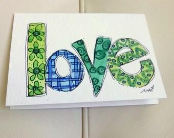 "Tiny Love Note Watercolor Original ""Little Card"" 31/2"" x 47/8"" Watercolor Card and Envelope Inside etrueoriginals"