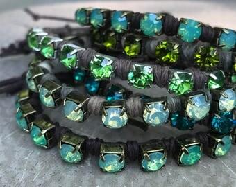 FIVE Rhinestone Wrap Bracelets - Trendy - Stacking - Single Strand - Button Closure - FLAUNT - Gimme the GREEN by SplendorVendor on Etsy