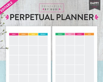 Monthly Planner Undated Planner Printable, Undated Perpetual Planner Insert 2018 Planner Inserts, Planner Pages Happy Planner Insert