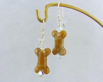 Dog Bone Earrings - Rustic - Handmade Lampwork Glass Beads SRA