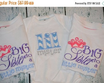 ON SALE Set of 3 Sibling Shirt Set Big Sister to a Little Mister and Little Mister  Brother Sister Shirt Set