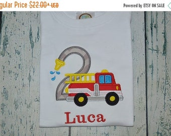 ON SALE PERSONALIZED Firetruck Birthday Shirt  Monogrammed with your childs name and age