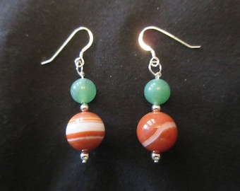 Sterling Silver Lace Agate and Jade Hook Earrings