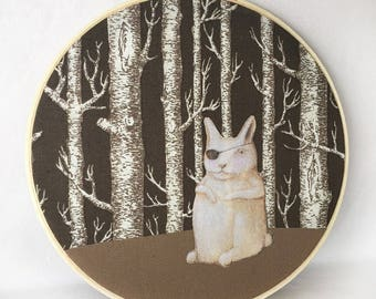 Cyclope Lapin  (color cotton applique fabric collage in hoop frame)
