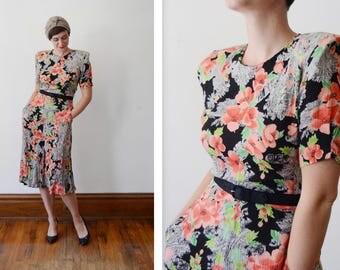 1980s Black Floral Print Dress - S/M