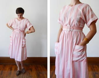 1980s Pink Striped Dress - S/M