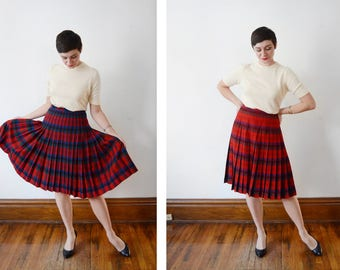 1950s Red Plaid Reversible Pleated Skirt - M