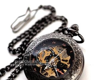 Black Filigree Steampunk Pocket Watch