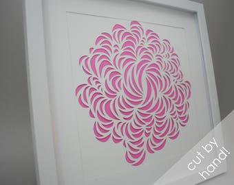 swirly flower - PAPER CUTTING - handmade art, Valentines Day, Paper cut art, flowers, unique wall art, framed paper cut,paper,botanical,pink