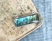 Labradorite Necklace, Gold Necklace, Bar Necklace, Labradorite Pendant, Horizontal Bar Necklace, Horizontal necklace, Gift for Women