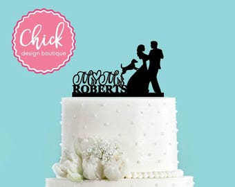 Custom Couple Dancing with Dog Bride and Groom Cake Topper, Wedding Cake Topper