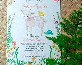 Baby Shower Invitation, Little Lamb Baby Shower Invitation, Watercolor Baby Shower Invitation, Rustic Baby Shower Invitation