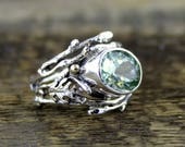 """Reserved for """"A"""" Green Amethyst Deep Magic Dream Ring, twig ring, branch ring, engagement ring, oak ring, tree of life, woodland, boho"""