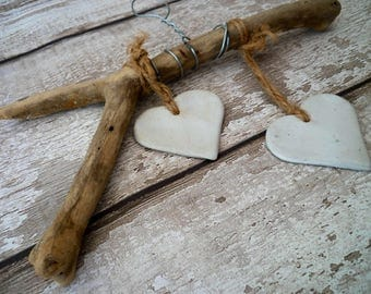 Driftwood Loveheart hanger, home decor, driftwood art, wall hanging, ceramic sculpture, gift idea