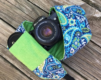 Ready To Ship Extra Long Wide Camera Strap for DSL camera Navy Paisley With Bright Green Reverse and Lens Cap Pocket No Monogram