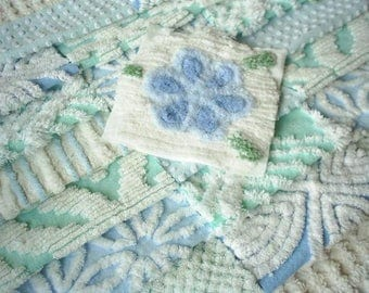 "Vintage Chenille Bedspread Squares - Pretty Aqua and Blues-21-6"" squares"