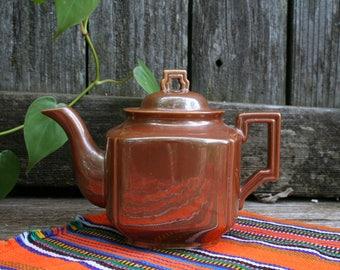 Beautiful Milk Chocolate Brown Lusterware Teapot / Art Deco Style