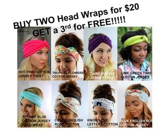 Wide Twist Headband Wrap Twist Turband Head Wrap - CHOOSE any Two & GET a 3rd Headband for FREE!!
