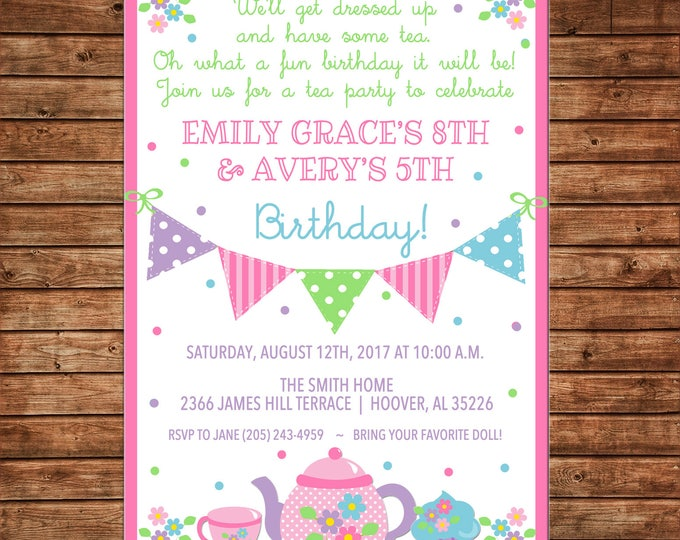 Girl Bunting Banner Tea Cup Pot Floral Flowers Birthday Party Invitation - DIGITAL FILE