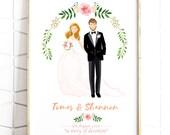 Custom Wedding Portrait - Personalised Couple Illustration - Illustrated Wedding Gift - Bride & Groom - A4 - Digital File - Print