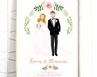 Custom Wedding Portrait - Personalised Couple Illustration - Illustrated Wedding Gift - Bride & Groom - A4 - Digital File - Print