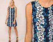 Hawaiian Dress Sun 90s Mini Floral Tropical Print Grunge Sundress Summer Blue Hibiscus Print Vintage Sleeveless Minidress Medium