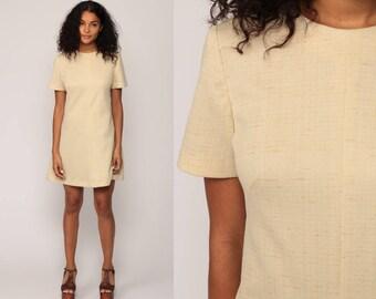 Mod Mini Dress 70s Shift Plain Twiggy 60s Vintage Beige Retro Minidress Gogo Short Sleeve Polyester Go Go Sixties Small