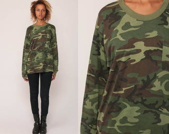Army TShirt Camouflage Shirt 80s T Shirt Camo Green Military Long Sleeve Top Grunge Hipster Retro Tee Vintage Print Large