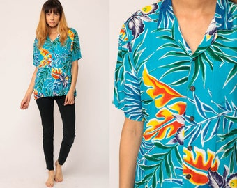 Hawaiian Shirt Short Sleeve Button Down Shirt 80s Top Vintage TROPICAL Blouse LEAF Print 1980s Turquoise Blue Surfer Party Large