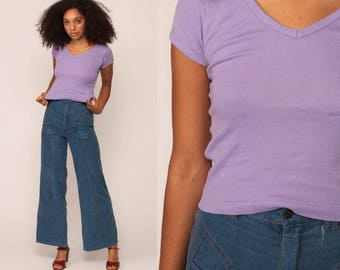 Purple Shirt Vintage Plain Shirt Tee Shirt 80s Grunge T Shirt Tight Girly Fit Lavender Normcore Tshirt 1980s Extra Small xs