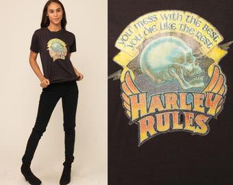 Harley Davidson TShirt Motorcycle Shirt 80s Biker Tee SKULL Shirt HARLEY RULES Iron On Print Black T Shirt 1980s Rocker Medium Large