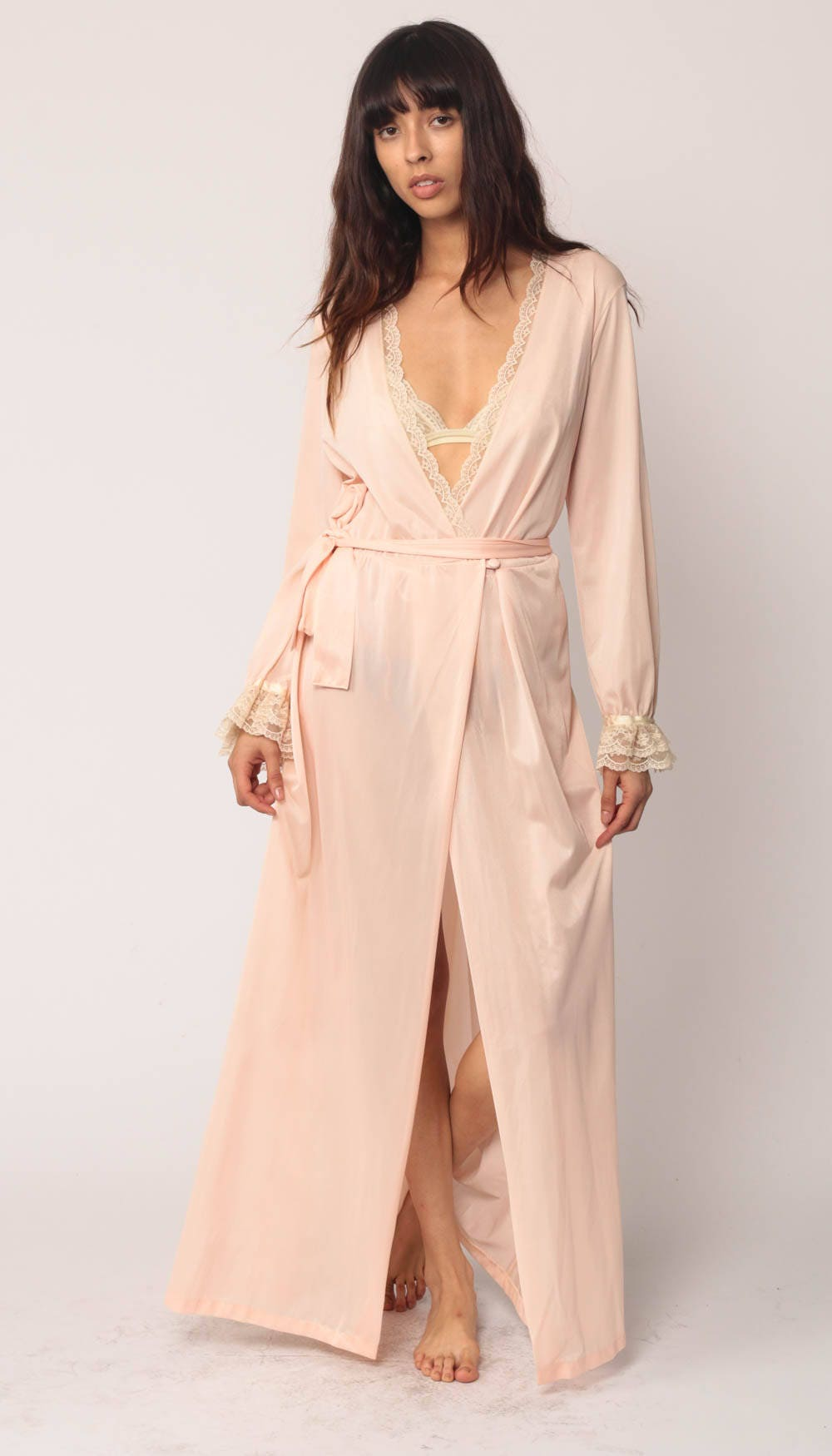 70s Robe Pastel Robe Jacket Bohemian Lingerie Baby Pink Gown