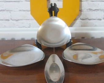 Mid century Danish lundtofte stainless steel candle plates holders