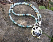 "Kauila Turtle 16"" Necklace with Black / Gold Amazonite and Apatite Beads, Silver Symbolic Jewelry, Sea Turtle, Sea Totem"