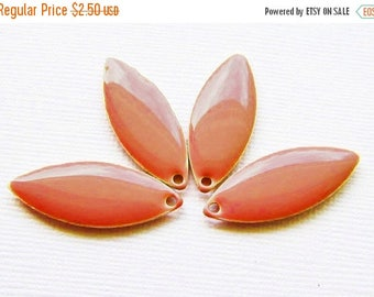 20% OFF Metal & Epoxy Solid Marquise Drops - Silver Plated Salmon Pink (4 drops) - spa516