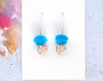 Blue Drop Pom Pom Earrings with Colourful Raindrops disc