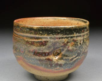 Handmade Shino and Copper and Rutile Glazed Small Yunomi Tea Cup or Larger Guinomi Sake Cup