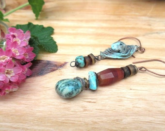 Tribal Asymmetric Earrings with Gemstones: A Beautiful rendezvous