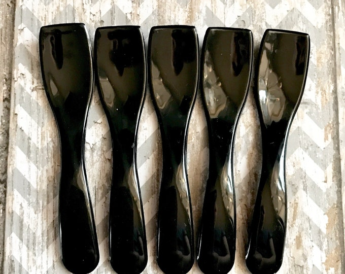 50- Curvy Black Cosmetic Spoons, For Sugar Scrub, Body Butter, Whipped Soap, Frosting, Testers Etc. Two Wild Hares