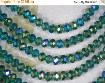 ON SALE 25 Crystal Spacer Beads Teal AB Rainbow Rondelles 8mm x 6mm Faceted (C365)
