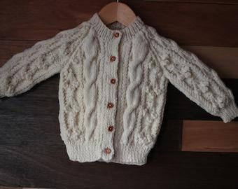 Childs Aran cardigan pure wool  2 - 3 years
