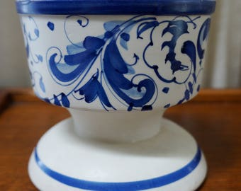 Vintage Flower Pot Cobalt Blue White Floral Scrolls Planter Hand Painted Made in Italy