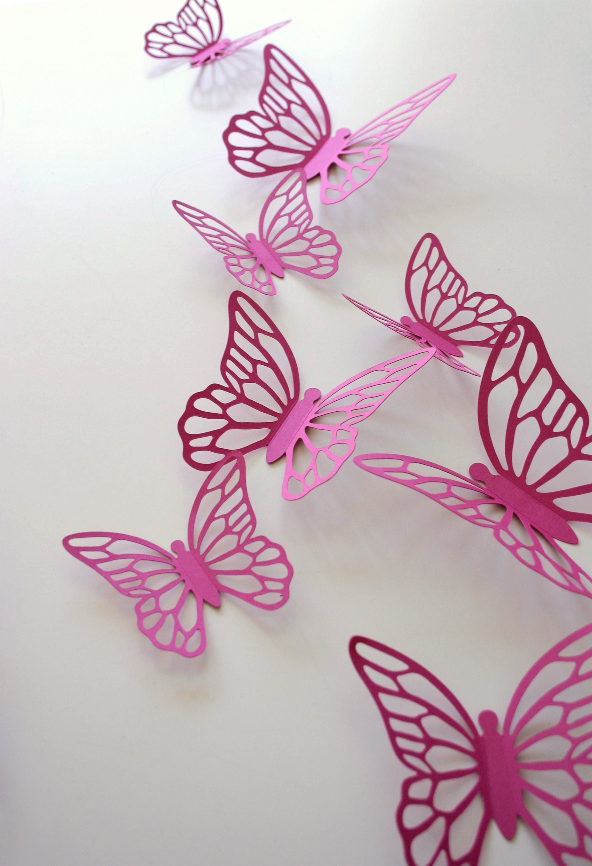 Butterfly Stickers MAGENTA Hot Pink Wall Paper Butterflies 3D