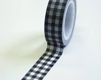 25% Off Summer Sale Washi Tape - 15mm - Black Gingham Pattern - Deco Paper Tape No. 603