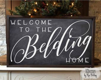 welcome to the (your name) home - personalized welcome to our home framed wood custom farmhouse family name sign