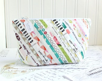 Cosmetic Bag Makeup Bag Colorful Selvage Edge Patchwork Zipper Pouch Organizer